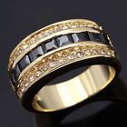 Size 6,7,8,9,10 Jewelry Mens Womens 18K Black Sapphire Gold Filled Ring Gift