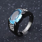 Blue Aquamarine Black Gold Filled Rings For Men Wedding Jewelry Size 8-12