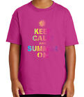 Keep Calm and Summer ON Kid's T-shirt Cool Sun Beach Tee for Youth - 2091C
