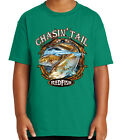 Chasing Tail Redfish Kid's T-shirt Fishing Theme Red Fish Tee for Youth - 2088C