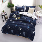 4 Pcs Bedding Set Space Star Galaxy Duvet Cover Blue White 3D Cartoon Bedspread  for sale  Shipping to Canada