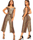 Womens Off Shoulder Leopard Print Wide Leg Palazzo Jumpsuit Trousers Ladies New