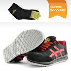 Safetoe Safety Shoes Mens Work Metal Free Lace up Boots Cow Suede Leather Red