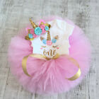 Newborn Baby Girl Unicorn Romper Lace Dress Skirt Party Birthday Headband Outfit