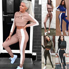 HOT Womens Long Sleeve Full Tracksuit Crop Tops+Pant Set  Wear Sports Suit