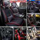 5 Seats PU Leather Deluxe Car Rear Cover Seat Protector Cushion Sets + Pillows