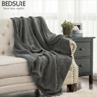 Bedsure Knitted Sherpa Throw Blanket Grey Knit-Sherpa Soft Cozy Bedding blanket image