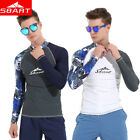 SBART Long Sleeve Men Swimwear Rash Guard Surf Clothing Divi