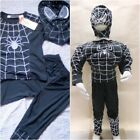 News Kids Boy Costume Muscle Chest Black Spiderman / Non-Muscle Halloween 2-7Yrs
