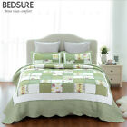 Printed Quilt Coverlet Set Bedspread All Size Green Ruffle bedding set image