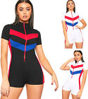 Womens Contrast Striped Shorts Playsuit Ladies Zip Back Short Sleeve High Neck