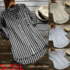Plus Size Womens Summer Striped V Neck Blouse Baggy Tops Ladies Tunic T Shirt US
