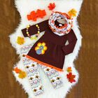 USA Thanksgiving Day Kid Girl Outfit Clothes T-shirt Tops Dress +Long Pants Sets