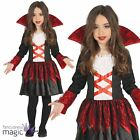 Child Girls Red Vampire Vampiress Baroness Gothic Halloween Fancy Dress Costume