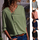 US Women Fashion Long Sleeve Tuni Tops V-neck Button Chiffon T Shirts Casual HX