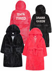 Girls Dressing Gown Sequin Back Hooded Bath Robe Black Neon Pink Ages 7-13 Years