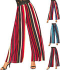 Womens Striped Pleated Wide Leg Flared Loose Palazzo Stretch Trousers Ladies New
