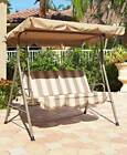 Double Outdoor Canopy Swings Tan/WhiteTilts Provide Shade Patio Lawn Garden Deck