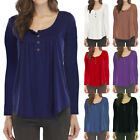 Womens Plus Size V-Neck Long Sleeve Pleated Button Solid Loose T-Shirt Tops GIFT
