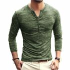 Men's Casual Slim Fit Long Sleeve Henley Shirts Button T-Shirts Winter Clothes T