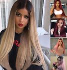 Women Girl Wig Straight Long Hair Ombre Wine Red Pink Blonde Linen Cosplay Sexy