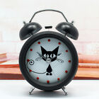 Novelty Cute Cat Twin Bell Silent Metal Alarm Clock 3 Stand Round Analog Clock