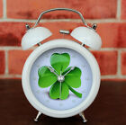 Novelty Simple Four Leaves Clover Alarm Clock Round Metal Silent Desk Clock