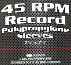 """~#BCW Clear 45 rpm Record Polypropylene Protective Sleeves (7-3/8"""" X 7-5/8"""")"""