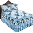 Navy Rose Floral Medallion Printed Tiered Ruffled Bedspread, by Collections Etc image