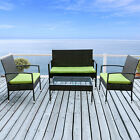 4 PC Tightly Weaved Patio Rattan Wicker Garden Furniture Sets Chair Sofa Table