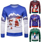 Men's Christmas T-Shirts Crew Neck Snowman Print Long Sleeve T-Shirt Xams Tee