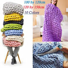 Soft Chunky Knit Blanket Handmade Throw Wool Thick Line Yarn Sofa Home Decor New image