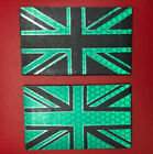 UNION JACK BLACK & GREEN REFLECTIVE MONO IR STYLE VELCRO® BRAND FLAG PATCH,IFF