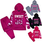 Girls Tracksuit New Kids Hoodie And Joggers Slogan Set 2PSC Ages 1 - 6 Years