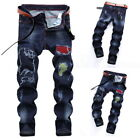 Men's Straight Jeans Ripped Pencil Pants Trousers Casual Denim  Jeans  GIFT