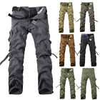 Men's Casual Washed Overalls Multi-pocket Pants Trousers Working Clothes Wear