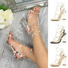 Womens Ladies Clear Block High Heel Barely There Studded Party Strappy Sandals