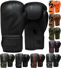 RDX Leather Boxing Gloves Matte Black MMA Sparring Training Fighting Punching CA