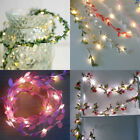 Flower Leaves Led String Lights Battery Operated Lamp Christmas Xmas Home Decor