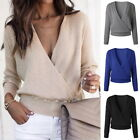 Women's Deep V-Neck Long Sleeve Wrap Front Loose Sweater Pulloverer Tops