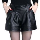 New Women Loose Faux Leather Shorts Autumn Winter Fashion High Waist Pants Party