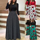 Womens Girls Boho Maxi Dress Party Evening Ladies Holiday Long Sleeve Cocktail