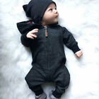 Toddler baby boy girls warm infants rompers jumpsuit bodysuit hooded clothes set