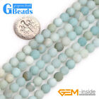 Frosted Round Blue Amazonite Stone Big Hole Beads for Jewelry Making Strand 15""