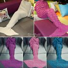 US Kids Adults Mermaid Tail Blanket Set-Soft Crocheted Sleeping Bag Knitting Rug image