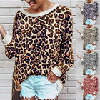 Womens Long Sleeve Leopard Print Blouse Casual Loose Crew Neck Hoodies Pullovers
