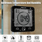 Wall Clock w/ Strong Suction Waterproof Shower Bathroom Digital Clock Hygrometer