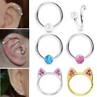 1Pair Surgical Steel Captive Bead Ring White Opal Ball One Side Septum Nose Ring $6.99 USD on eBay