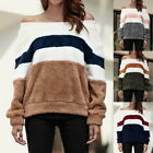 Womens Sexy Off Shoulder Fleece Tops Oversized Block Stripe Baggy Chunky Tops