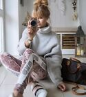 ZARA MARL GREY WOOL KNITTED OVERSIZED ROLL NECK TURTLENECK LONG SWEATER JUMPER